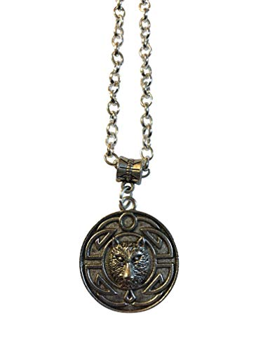 """Celtic Wolf Medallion Silver Plated 20"""" Chain, Gift boxed"""