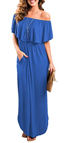 Womens Off The Shoulder Ruffle Party Dresses Side Split Beach Maxi Dress RoyalBlue XS