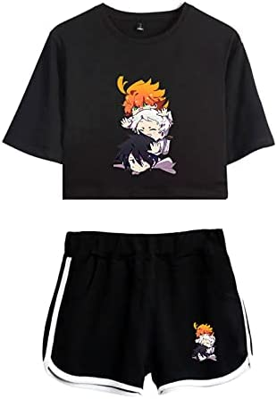 WWZY Anime The Promised Neverland Trajes de Impresión 3D Manga Corta Top Shorts Sexy Ombligo T-Shirt Camiseta y Shorts Conjuntos Anime Cosplay Emma,Norman y Ray Disfraz Mujer