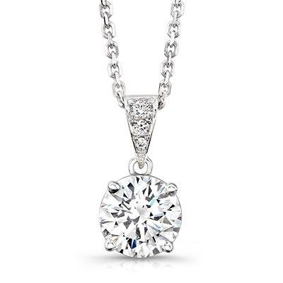 "0.30 ct Ladies Round Cut Diamond Solitaire Pendant in 14 kt. With 16"" Chain In 14 Karat White Gold by Natural Diamonds of NYC"