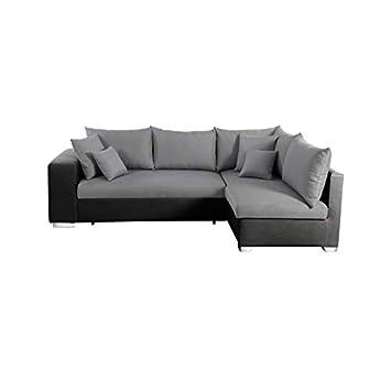 acheter en ligne fa495 24731 Valencia canapé d'angle Droit Convertible 5 Places - Tissu Gris et Simili  Noir - Contemporain - l 255 xp 165 cm
