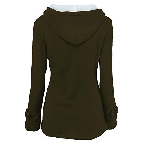 de Invierno hebilla 2XL invierno abrigo y de capucha Abrigo tamaño ZFFde Color Green con cuerno de EfdCqcw