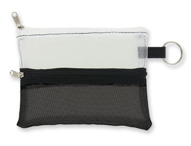 Meshed-Up Mini Double Zippered Pouch (White & Black) by DM Merchandising by DM Merchandising (Image #1)