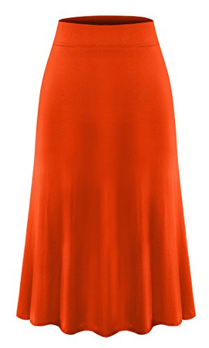 Plus Size Knee Length Midi Skirt for Women 4X-Large Orange