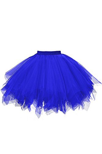 Musever 1950s Vintage Ballet Bubble Skirt Tulle Petticoat Puffy Tutu Royal Small/Medium (Royal Tulle Blue)