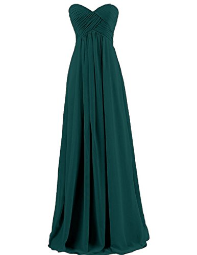 Cdress Chiffon Sweetheart Long Bridesmaid Dresses Plus Size Prom Party Formal Gowns Peacock US 12