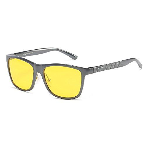 MYIAUR HD Night View Vision Yellow Lens Anti-glare Sunglasses Men Women for Driving (Metalgun/ - Wide For Faces Glasses