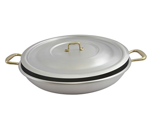 "Ottinetti 40cm ""Donna"" Brushed Aluminium Paella Pan With Lid, Medium, Silver"