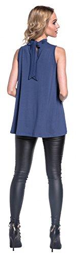 Glamour Empire. Mujer Asimétrico Top Sin Mangas Cuello Redondo Gargantilla. 579 Azul Gris