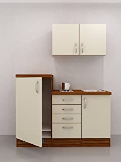 Großartig Amazon.de: Singleküche 160 cm Hochglanz Creme mit Kühlschrank und  HP31
