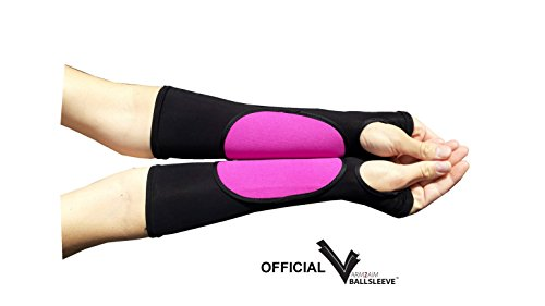 ARM2AIM Pink Pad on Black Sleeves WITH Thumbhole (Forearm Below Elbow) - Volleyball Arm Sleeves-PAIR