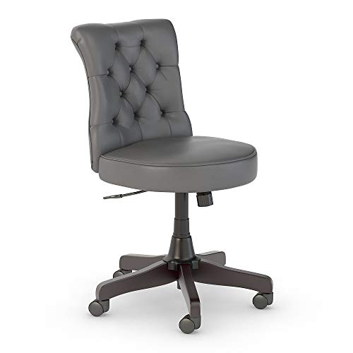 Bush Furniture Cabot Mid Back Tufted Office Chair in Dark Gray Leather