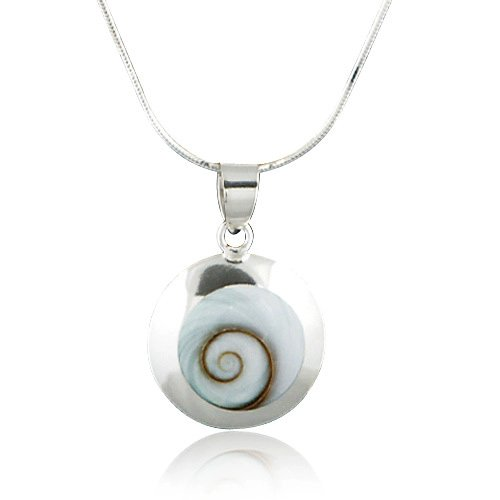 925 Sterling Silver Natural Shiva Eye Shell Inlay Round Pendant Necklace, 18 inches - Round Shell Pendant