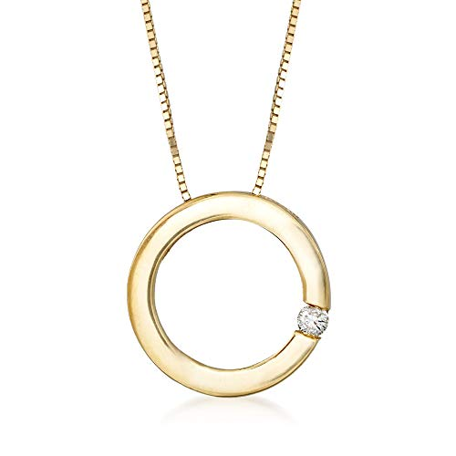 Ross-Simons 14kt Yellow Gold Open Circle Necklace With Diamond Accent