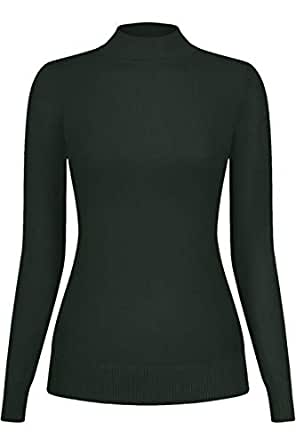 2LUV Women's Stretch Knit Mock Neck Pull Over Sweater Olive S