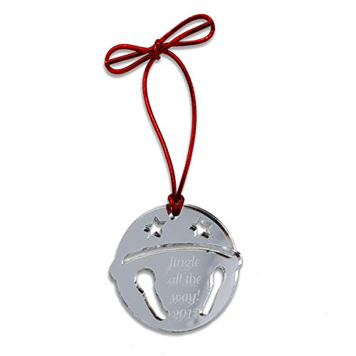 (Naag Tag Inc. Mirrored Acrylic Sleigh Bell Christmas Tree Ornament | Personalization Available)