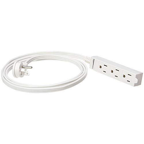 (AmazonBasics Indoor 3 Prong Extension Power Cord Strip - Flat Plug, Grounded, 6 Foot, Pack of 2, White)