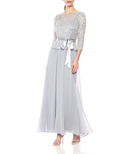 (Mother of The Bride Dress Women's Gown with Beaded Lace Top Over Chiffon Skirt Silver)