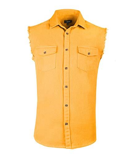 NUTEXROL Mens Sleeveless Denim/Cotton Shirt Biker Vest 2 Front Pockets Yellow ()