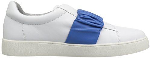 Nine West Women's Pindiviah Leather Sneaker White/Blue Leather free shipping professional 100% guaranteed cheap price original for sale 2XEc7JUdiO