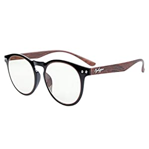 Eyekepper Retro Vintage Flex Lightweight Plastic Round Frame Computer Glasses Readers Eyeglasses Black Frame-Wood Arms