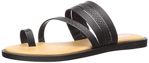 Kenneth Cole REACTION Women's Spring Toe Loop Flat Sandal Black, 7 M US