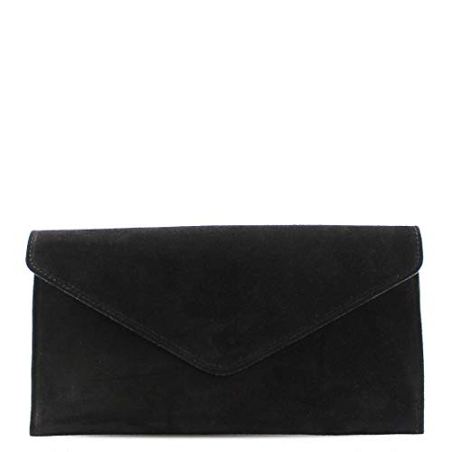 Womens Ladies Real Suede Leather Envelope Clutch Evening Shoulder Chain Bag (Black)