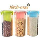 Kitch-Max 3 Sections Air Tight Transparent Food, Grain, Cereal Dispenser Storage Container Jar, 1500 ml, Masala Boxes for Kitchen - Pack of 3