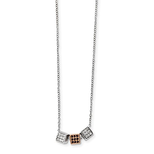 925 Sterling Silver and Rose-tone w Black Onyx and Cubic Zirconia Necklace 16.5inch ()