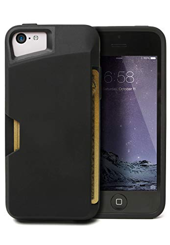 iPhone 5c Wallet Case - Slite Card Case for iPhone 5c by CM4 -Black Onyx- [Ultra Slim Protective iPhone Wallet]