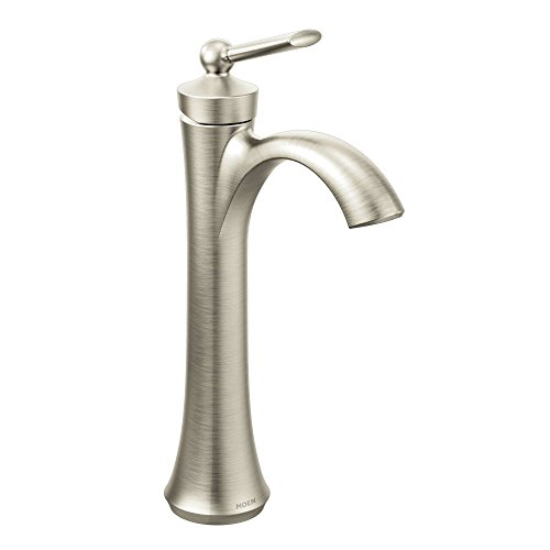Moen 4507BN Wynford One-Handle High Arc Vessel Bathroom Faucet, Brushed Nickel (Moen Vessel Faucet Bathroom)