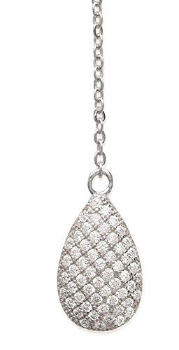 Collier en Argent 925/000 et Oxyde de Zirconium - Chaîne avec Pendentifs Fixes : 2 Gouttes en Strass, Brillants Blanc - Bijoux Femme
