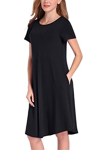 NELIUYA Women's Short Sleeve Pockets Casual Swing T-shirt Dresses(Medium, Black)