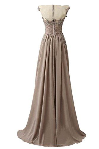 Abendkleid Rundkragen Chiffon Damen Ivydressing A Promkleid Elegant lang Linie Nazisse amp;Tuell Festkleid Applikation Spitze fHxn7gp
