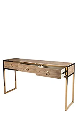 Statements by J RH3107SG Toretto Console Table w/ 3 Drawers & Gold Legs, 31 Inch Tall, Gold, Brown