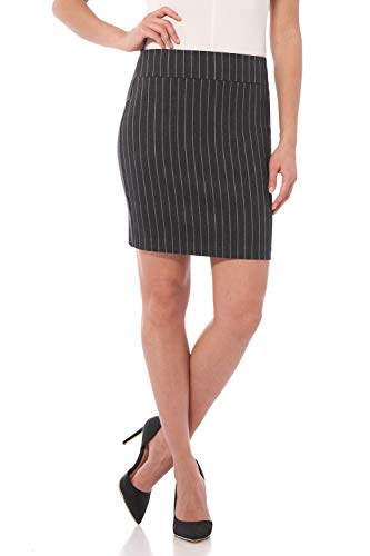 Rekucci Women's Ease Into Comfort Above The Knee Stretch Pencil Skirt 19 inch (Medium,Dark Charcoal ()