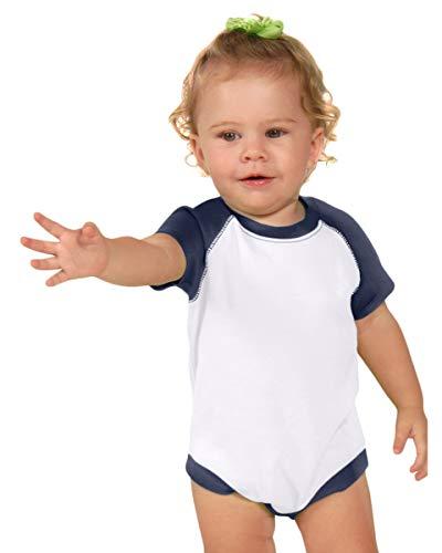 Kavio Infants Rgln S/S Bodysuit (Same 0508), White/Navy, 6 Months