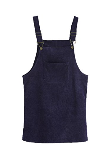 (MAKEMECHIC Women's Bid Strap Pocket Dungaree Mini Overall Dress Navy)