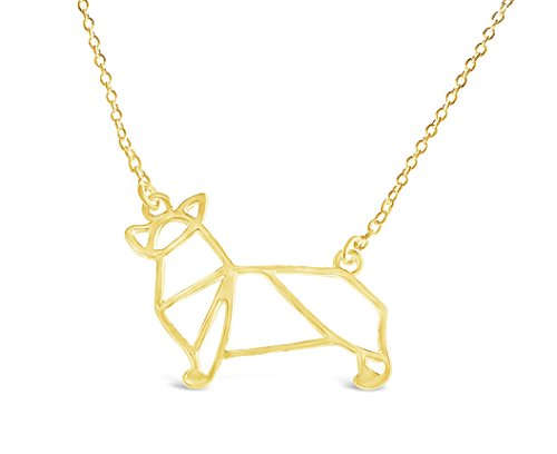 (Rosa Vila Corgi Necklace, Corgi Origami Necklace, Corgi Gift Perfect for Dog Lovers, Dog Jewelry for Women, Dog Necklaces for Lovers of Corgis, Gifts for Corgi Lovers (Gold Tone))