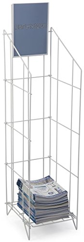 "Wire Display Rack for Dispensing Stacked Magazines Or Other Materials, 48""h x 12""w x 13-3/4d, Clear Cut, One Shelf, Detachable Header, Lightweight Floor Display"