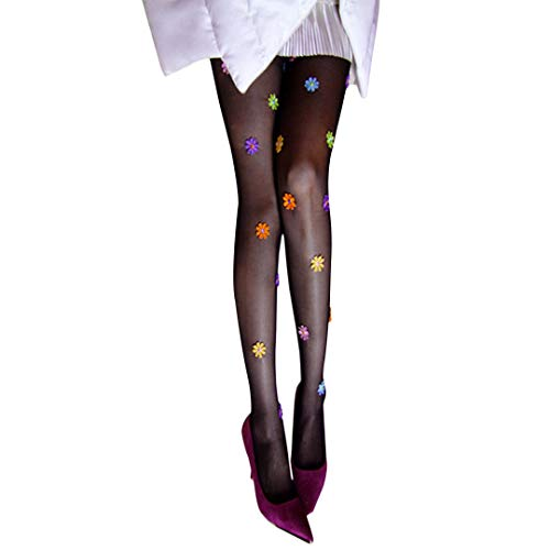 Radish Stars Ultra-thin Stockings Embroidered Pantyhose Print Stretch Tight High Waist Tight for Women & Girls - Black Color with Colorful Flower