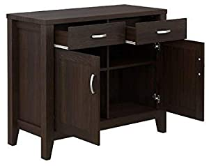 Shilpi Handmade Indian Premium Teak Board Wooden Side Cabinet in Coffee Colour