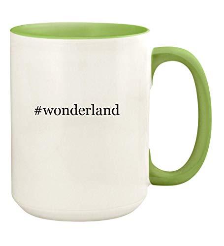 (#wonderland - 15oz Hashtag Ceramic Colored Handle and Inside Coffee Mug Cup, Light)