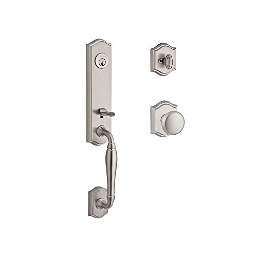 (Baldwin SCNEWXROUTAR150 Reserve Single Cylinder Handleset New Hampshire x Round with Traditional Arch Rose in Satin Nickel Finish)