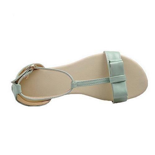 Boucle TSFLG005218 Bas Vert Sandales Talon Unie Cuir PU Femme à AalarDom Couleur vpRxIq54