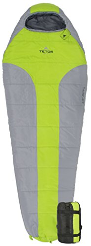 TETON Sports Tracker +5F Ultralight Mummy Sleeping Bag Perfect for Backpacking, Hiking, and Camping Outdoors; 3-4 Season Mummy Bag; Green/Grey