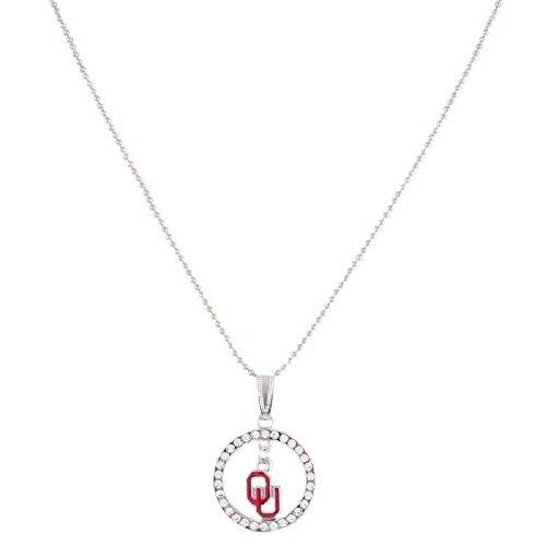 Logo Dangle - Oklahoma Sooners Studded Hoop and Dangle Logo Necklace