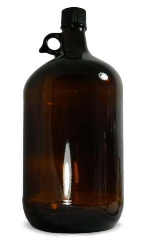 - Qorpak GLC-02054 Amber Glass Jug with 38-400 Black Phenolic with Pulp/Vinyl Lined Cap, 128oz Capacity, 165mm OD x 297mm Height (Case of 6)
