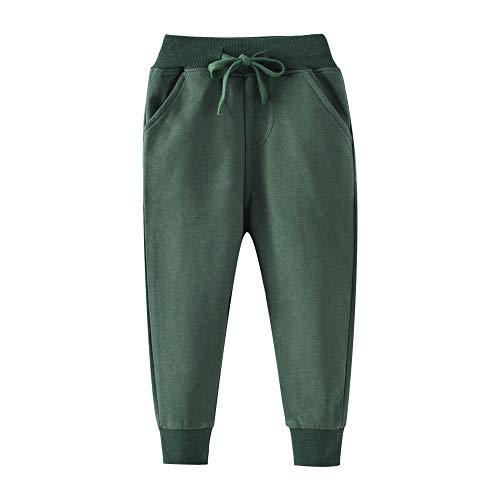 (HUAER& Boys Cartoon Print Monkey Dinosaur Camouflage Pattern Cotton Pants Drawstring Elastic Sweatpants (2T(height85-90cm/33-34inch), Dark Green))