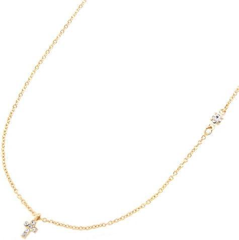 パヴェ クロス 十字架 鎖骨 スワロフスキー ネックレス レディース金属アレルギー対応 ゴールド n3496-G